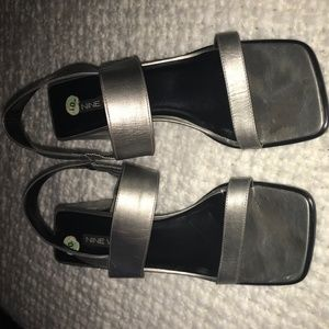 Women's S10 Silver Sandals Nine West Leather